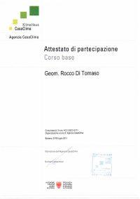 Attestato Aziendale Rocco Di Tomaso Corso Base Casa Clima Junior