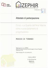 Attestato Aziendale Rocco Di Tomaso Progettazione
